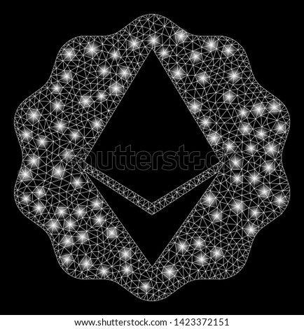 Bright mesh Ethereum badge seal with lightspot effect. Abstract illuminated model of Ethereum badge seal icon. Shiny wire frame triangular mesh Ethereum badge seal.