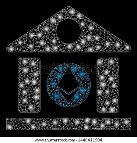 Bright mesh Ethereum corporation building with glare effect. Abstract illuminated model of Ethereum corporation building icon. Shiny wire frame triangular network Ethereum corporation building.