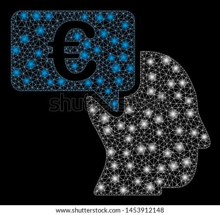 Bright mesh Euro businessman idea with lightspot effect. Abstract illuminated model of Euro businessman idea icon. Shiny wire frame triangular mesh Euro businessman idea.