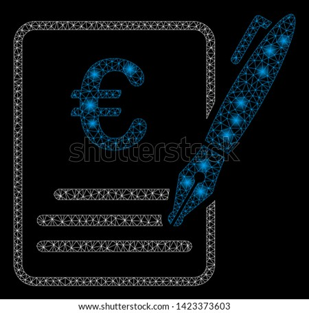Bright mesh Euro contract signature with glare effect. Abstract illuminated model of Euro contract signature icon. Shiny wire carcass triangular mesh Euro contract signature.