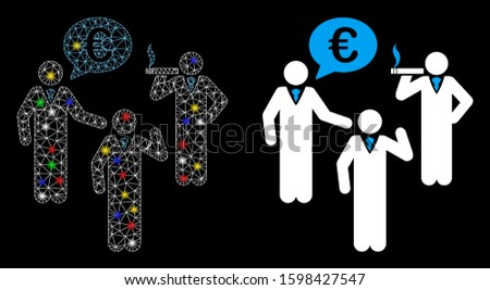 Bright mesh Euro discuss people icon with glare effect. Abstract illuminated model of Euro discuss people. Shiny wire frame triangular network Euro discuss people icon.