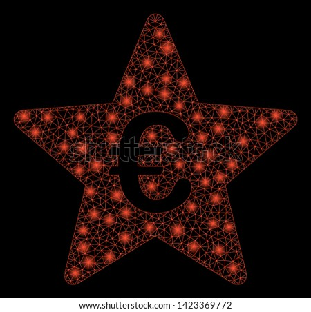 Bright mesh Euro hit parade star with glare effect. Abstract illuminated model of Euro hit parade star icon. Shiny wire frame polygonal network Euro hit parade star.