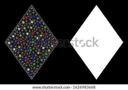 Bright mesh filled rhombus icon with glare effect. Abstract illuminated model of filled rhombus. Shiny wire carcass triangular mesh filled rhombus icon. Vector abstraction on a black background.