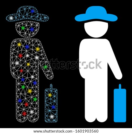 Bright mesh gentleman baggage icon with sparkle effect. Abstract illuminated model of gentleman baggage. Shiny wire carcass polygonal mesh gentleman baggage icon.