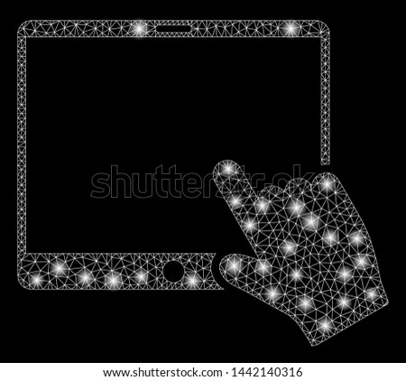 Bright mesh hand pointer tablet with sparkle effect. Abstract illuminated model of hand pointer tablet icon. Shiny wire carcass triangular mesh hand pointer tablet.