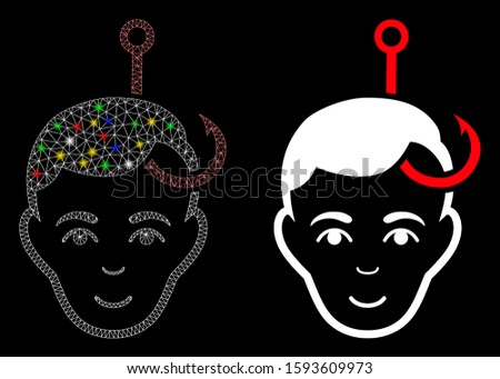 Bright mesh hooked man head icon with glow effect. Abstract illuminated model of hooked man head. Shiny wire carcass polygonal mesh hooked man head icon. Vector abstraction on a black background.