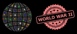 Bright mesh network globe with bright dots, and World War Ii textured rosette seal print. Illuminated vector structure created from globe pictogram. Pink seal has World War Ii tag inside rosette.