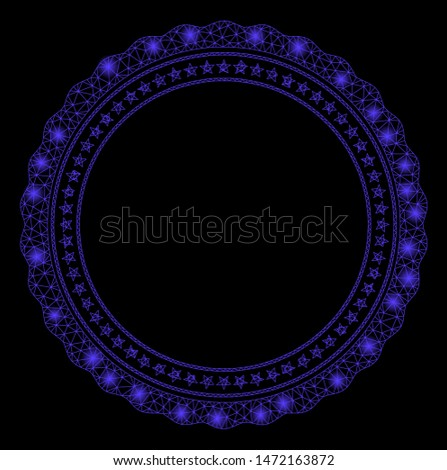 Bright mesh rosette circular star frame with glare effect. Abstract illuminated model of rosette circular star frame icon. Shiny wire carcass polygonal mesh rosette circular star frame.