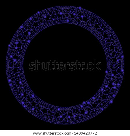 Bright mesh stars round frame with glitter effect. Abstract illuminated model of stars round frame icon. Shiny wire carcass polygonal network stars round frame.