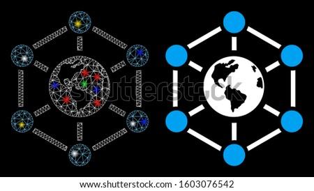 Bright mesh worldwide internet icon with glow effect. Abstract illuminated model of worldwide internet. Shiny wire carcass polygonal mesh worldwide internet icon.