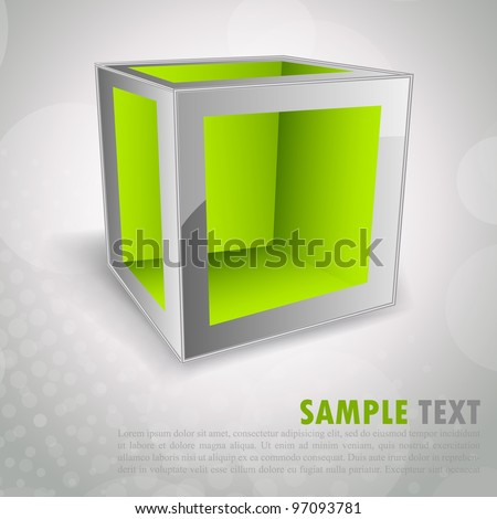 Bright modern background with green 3d cube