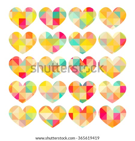 bright multi colored hearts