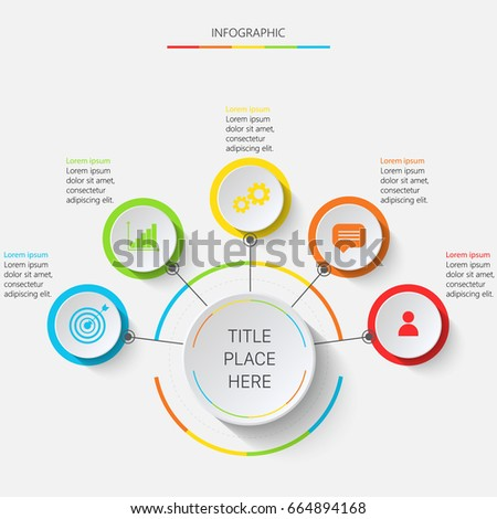 Bright multicolored infographics with 5 elements pointing upwards on white circles #664894168