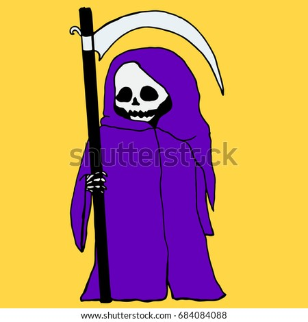 Stock Photo Bright, mystical, cartoon, death with a scythe,purple hoodie, isolated.Vector hand drawn illustration.Color page for adults and children. Book, textile, print, poster, design, sticker, card