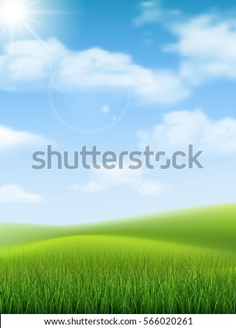 Bright nature landscape with sky, hills and grass. Rural scenery. Field and meadow. Vector illustration.