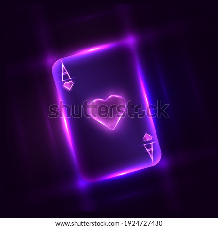 bright neon ace of hearts for