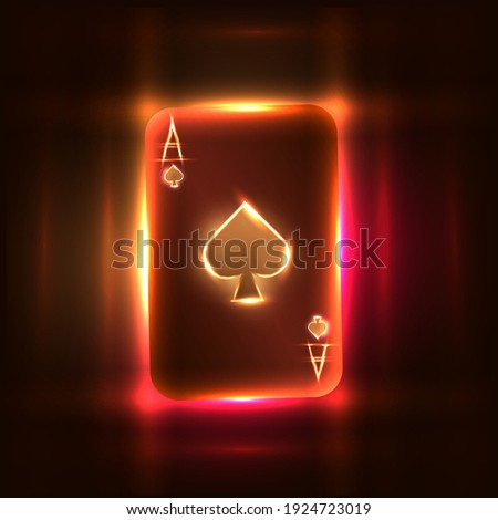 bright neon ace of spades for