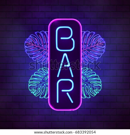 Bright neon tropical bar sign. Board with exotic incandescent lamp leaves