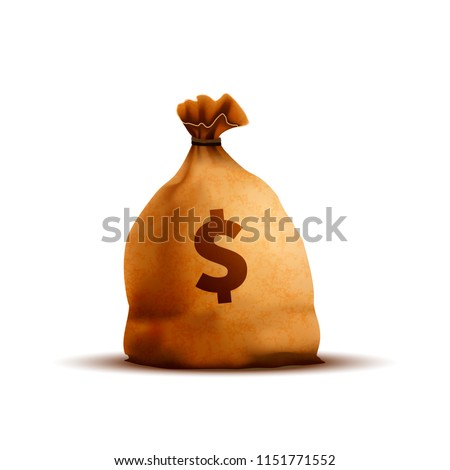 Bright old brown money bag with texture and dollar sign on white