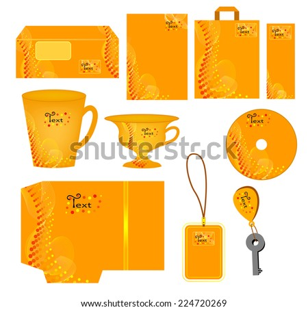 Bright orange abstract corporate style with in polka dots.Vector company style for brandbook and guideline( cup, folder, blank,letter,label,sticker, bag,key holder)