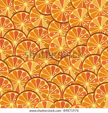 Bright orange background from slices of juicy oranges. Citrus texture background with slices of orange. Vector Illustration.