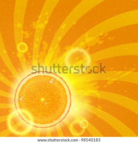 Bright orange background with citrus