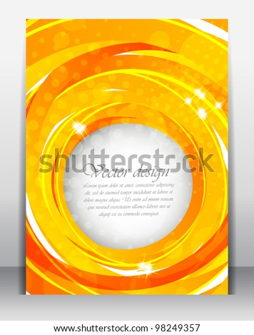 Bright orange poster with circle and light