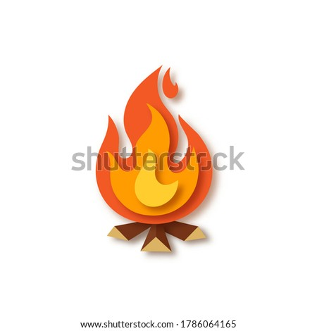 Bright orange, red, yellow bonfire with wood isolated on white background. Campfire, fireplace, flames. Paper cut out art digital craft style. Vector illustration