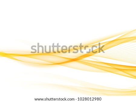 Bright orange speed light transparent wave over white background. Vector illustration
