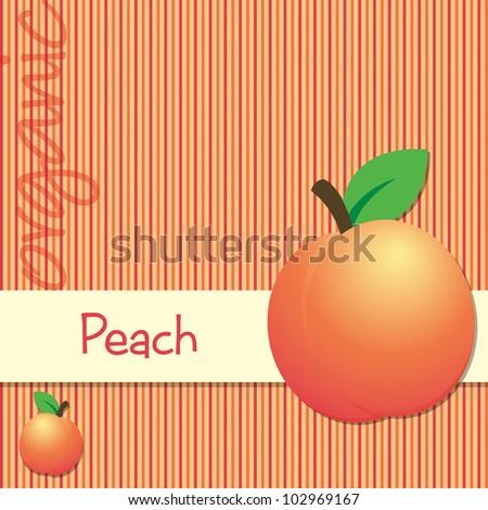 Bright organic peach card in vector format.