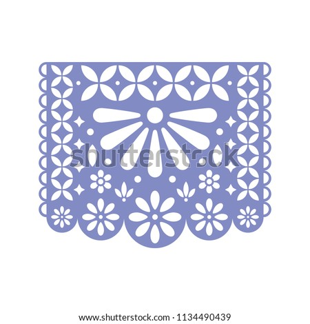 Bright paper with cut out flowers and geometric shapes. Papel Picado vector template design isolated on white. Traditional Mexican paper garland. Foto stock ©