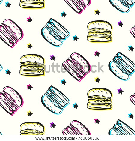 Bright party pattern with burgers and stars. Comic flat pop art colorful outline hamburger texture for fast food banner, textile, wrapping paper, package, cover