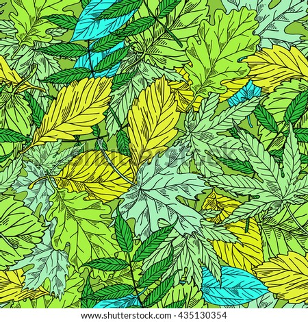 Bright pattern from leaves, background leaves, summer fabric of green leaves, Vector illustration.