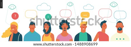 Bright people portraits - young men and women - row of talking people with bubbles above and watching eyes in the sky, chat and observing big brother, supervising concept
