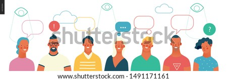 Bright people portraits - young men and women - row of talking people with bubbles above and watching eyes in the sky, chat and observing big brother, supervising concept Stockfoto ©