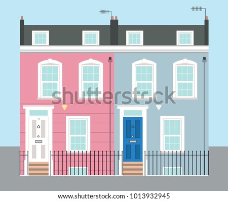Bright Pink and Blue Georgian Typical UK Terraced Houses