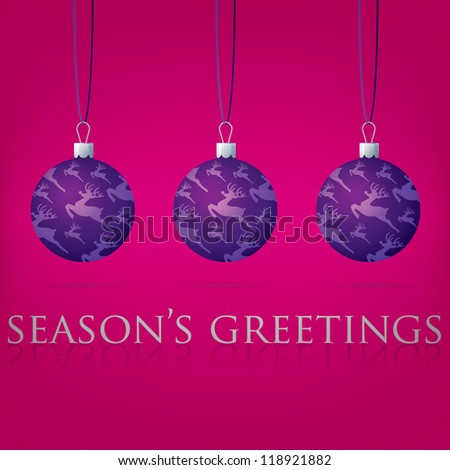 Bright pink Season's Greetings bauble card in vector format.
