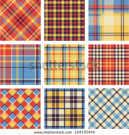 Bright plaid patterns set