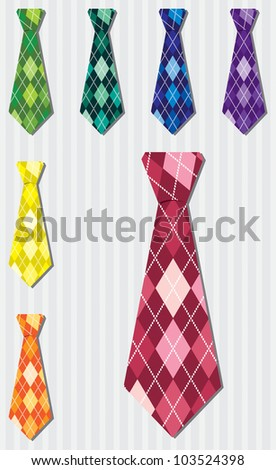 Bright plaid silk tie stickers in vector format.