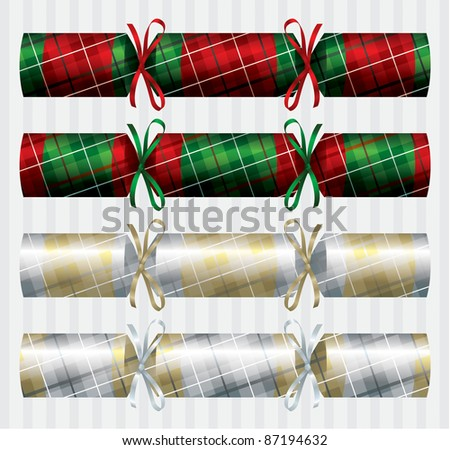 Bright plaid (tartan) Christmas crackers in vector format.