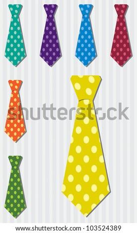 Bright polka dot silk tie stickers in vector format.