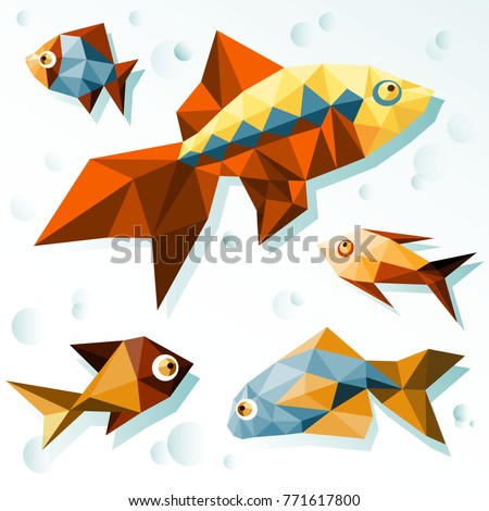 Bright polygonal fish #771617800