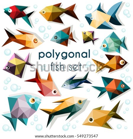 Bright polygonal fish set, colorful fish icons on white background