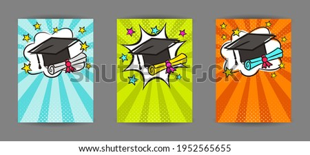 Bright pop art banner for Graduation with cap, scroll and stars. Cartoon text frame on a ray background. Comic educate Template for web design, banners, cards, coupons and posters. Vector illustration