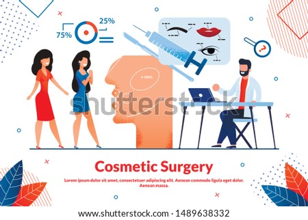 Bright Poster Cosmetics Surgery Lettering, Flat. Modern Research Methods and their Diagnostic Value. Girls came to Beautician, Doctor Offers Services, Cartoon. Vector Illustration.