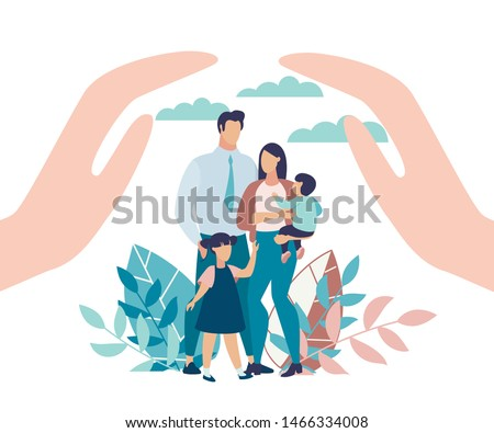 Bright Poster Family Protection with Children. State Protection for Families with Small Children. Parents and Children Stand in Park, Close-up above his Hands. Vector Illustration.