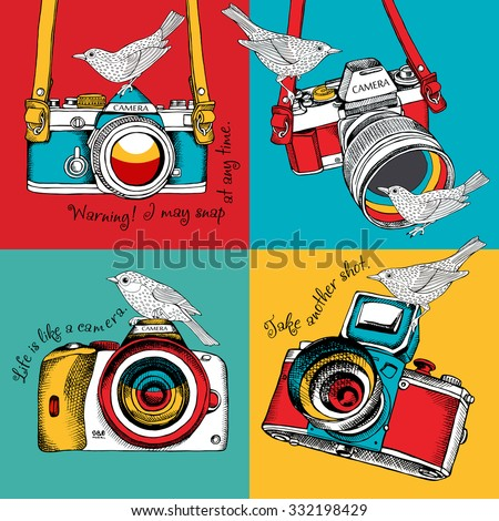 Bright poster in the style of pop art with image of a camera and birds on color background. Vector illustration.