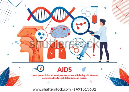 Bright Poster Inscription Aids Vector Illustration. Medical Methods that Enhance Perceptive Capabilities Person. Male Doctor Looking Through Magnifying Glass at Germs. Landing Page.