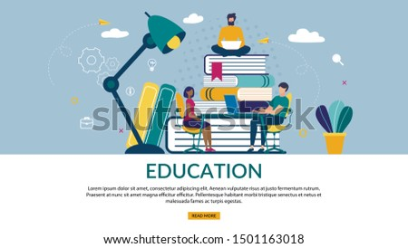 Bright Poster is Written Education, Cartoon Flat. Banner Man With Laptop Sits on Top Big Books Folded. Guy with Girl Sitting at Table Under Lighting Huge Lamp. Vector Illustration.