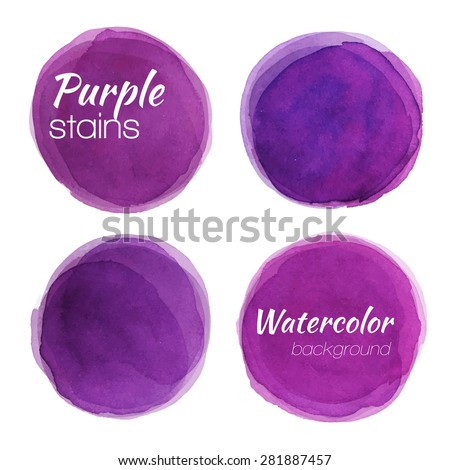 Bright purple watercolor painted vector stains set - stock vector